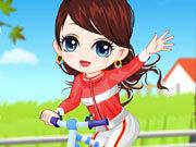 Girl Learn Bicycle